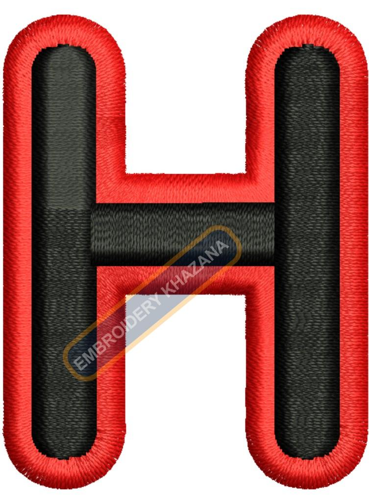 PUFF LETTER H WITH OUTLINE EMBROIDERY DESIGN